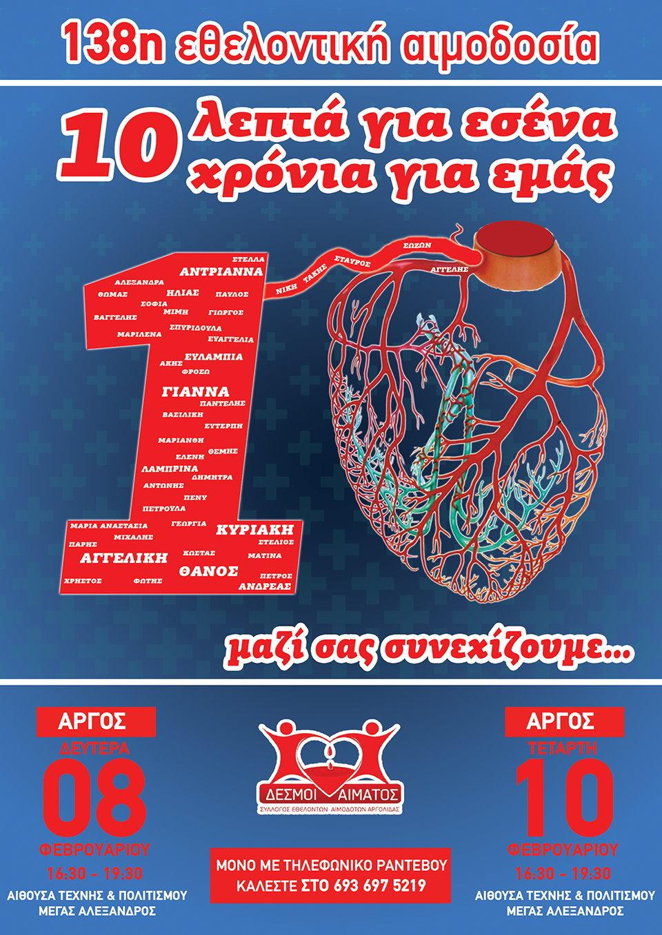 138η τακτική εθελοντική αιμοδοσία στο Άργος - Mόνο με ραντεβού
